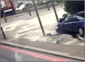 "Fig. 100 – a still from the Bus Footage showing the second collection of ""blood"" only by the reflection of light. Notice there appears to be no marking whatsoever on the kerb."
