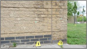 Fig. 133 – the yellow markers possibly denote the location of bullets.