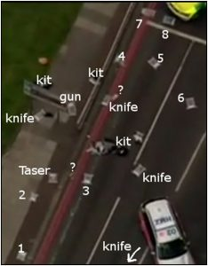 Fig. 140 – the location of the material generated by the shootout as it was discovered by police forensics (with the author's annotation).