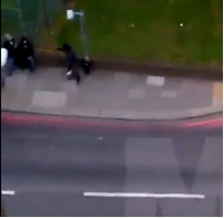 Fig. 215 – the person on the far left is the grey-cap wearing individual who may have captured his/her own footage.