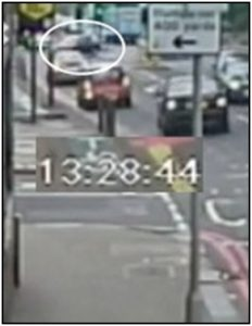 Fig.  223 – Car 2; pulls off from middle of junction at 13:28:43.