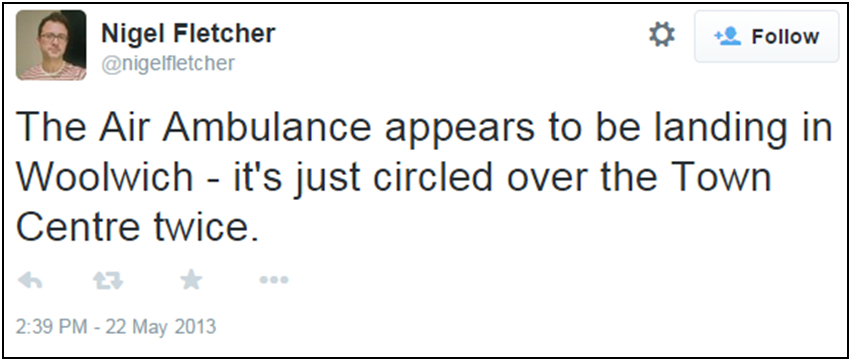 Fig.  234 – Nigel Fletcher's first tweet regarding the Air Ambulance seems to fit the official narrative.