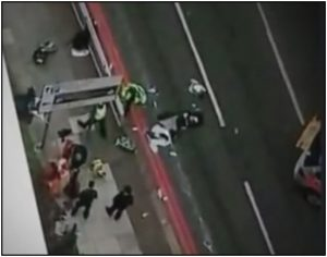 Fig.  271 – here is a scene from the Mirror Footage that got chopped out in the release to the public, but also found its way to Channel 4 news. The perpetrators are gone – and so are the armed police – leaving their vehicle on site. Is this normal?