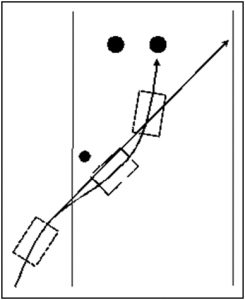 Fig. 59 – the relative paths of Rigby and the Tigra.