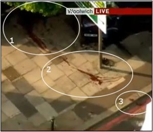 Fig. 90 – three areas of so-called blood on the pavement and kerb/gutter.