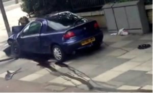 "Fig. 92 – the trickle of ""blood"" runs down to the end of the second flag stone clear of the back of the Tigra. This image is a still from footage taken during the incident."